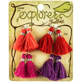 Small Red, Orange, Pink & Purple Tassels